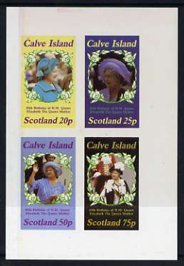 Calve Island 1985 Life & Times of HM Queen Mother imperf sheetlet of 4 values (20p, 25p, 50p & 75p) unmounted mint