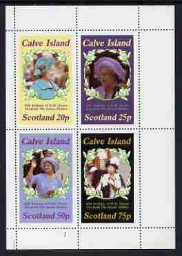 Calve Island 1985 Life & Times of HM Queen Mother perf sheetlet of 4 values (20p, 25p, 50p & 75p) unmounted mint