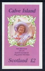 Calve Island 1985 Life & Times of HM Queen Mother imperf deluxe sheet (�2 value) unmounted mint