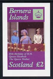 Bernera 1985 Life & Times of HM Queen Mother imperf deluxe sheet (�2 value) unmounted mint