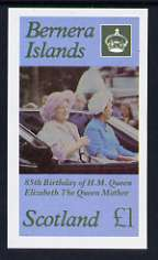 Bernera 1985 Life & Times of HM Queen Mother imperf souvenir sheet (�1 value) unmounted mint