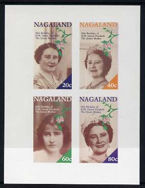 Nagaland 1985 Life & Times of HM Queen Mother imperf sheetlet of 4 values (20c, 40c, 60c & 80c) unmounted mint