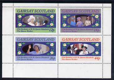 Gairsay 1985 Life & Times of HM Queen Mother perf sheetlet of 4 values (12p, 18p, 26p & 44p) unmounted mint