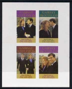Gairsay 1986 Royal Wedding imperf sheetlet of 4, unmounted mint