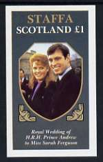 Staffa 1986 Royal Wedding imperf souvenir sheet (�1 value) unmounted mint