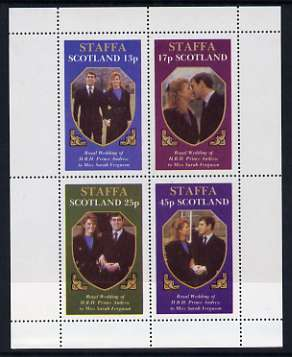 Staffa 1986 Royal Wedding perf sheetlet of 4, unmounted mint