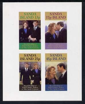 Sanda Island 1986 Royal Wedding imperf sheetlet of 4, unmounted mint