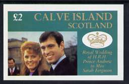 Calve Island 1986 Royal Wedding imperf deluxe sheet (�2 value) unmounted mint