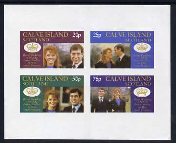 Calve Island 1986 Royal Wedding imperf sheetlet of 4, unmounted mint