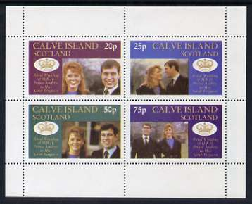 Calve Island 1986 Royal Wedding perf sheetlet of 4, unmounted mint