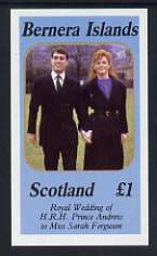 Bernera 1986 Royal Wedding imperf souvenir sheet (�1 value) unmounted mint