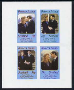 Bernera 1986 Royal Wedding imperf sheetlet of 4, unmounted mint