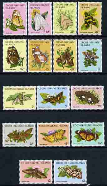Cocos (Keeling) Islands 1982 Butterflies & Moths perf set of 16 values unmounted mint, SG 84-99