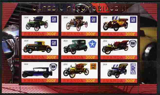 Rwanda 2010 Classic Cars #2 perf sheetlet containing 9 values unmounted mint