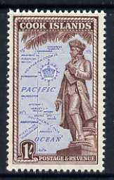 Cook Islands 1949-61 Statue of Cook 1s unmounted mint, SG 157*, stamps on statues, stamps on cook, stamps on explorers, stamps on  kg6 , stamps on