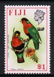 Fiji 1975-77 Birds & Flowers $1 (Collared Lory) unmounted mint, SG 519*