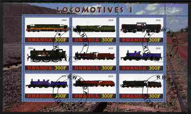 Rwanda 2010 Locomotives #1 perf sheetlet containing 9 values fine cto used