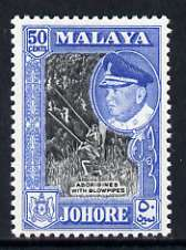 Malaya - Johore 1960 Aborigines Hunting with Blowpipes 50c perf 12.5 (from def set) unmounted mint, SG 162