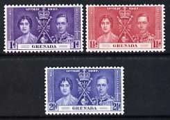 Grenada 1937 KG6 Coronation perf set of 3 unmounted mint, SG 149-51*