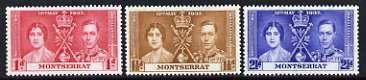 Montserrat 1937 KG6 Coronation perf set of 3 unmounted mint, SG 98-100*