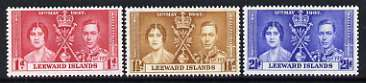 Leeward Islands 1937 KG6 Coronation perf set of 3 unmounted mint, SG 92-94*