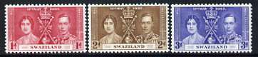 Swaziland 1937 KG6 Coronation perf set of 3 unmounted mint, SG 25-27*