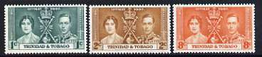 Trinidad & Tobago 1937 KG6 Coronation perf set of 3 unmounted mint, SG 243-45