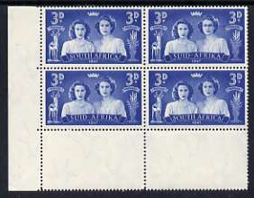 South Africa 1947 KG6 Royal Visit 3d unmounted mint positional corner block of 4 including R19/2 Blinded Princess variety