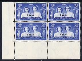South West Africa 1947 KG6 Royal Visit 3d unmounted mint positional corner block of 4 including R19/2 Blinded Princess variety