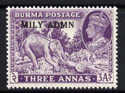Burma 1945 Mily Admin opt on Elephant & Teak 3a violet unmounted mint, SG 43*, stamps on , stamps on  kg6 , stamps on elephants, stamps on teak, stamps on wood, stamps on timber