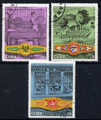 Cuba 1970 Cigar Industry complete cto set of 3 SG 1772-74*
