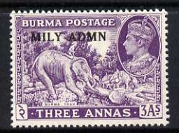 Burma 1945 Mily Admin opt on Elephant & Teak 3a violet with opt doubled (probably a kiss print) unmounted mint, SG 43var*