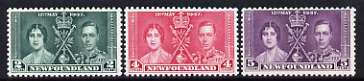 Newfoundland 1937 KG6 Coronation perf set of 3 unmounted mint, SG 254-56, stamps on royalty, stamps on , stamps on  kg6 , stamps on , stamps on coronation