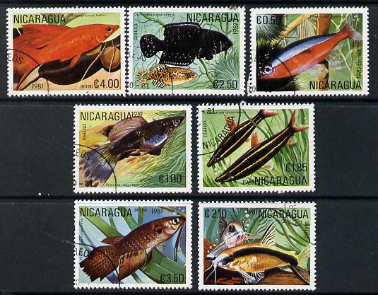 Nicaragua 1981 Tropical Fish complete perf set of 7 cto used, SG 2296-2302*
