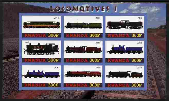 Rwanda 2010 Locomotives #1 imperf sheetlet containing 9 values unmounted mint