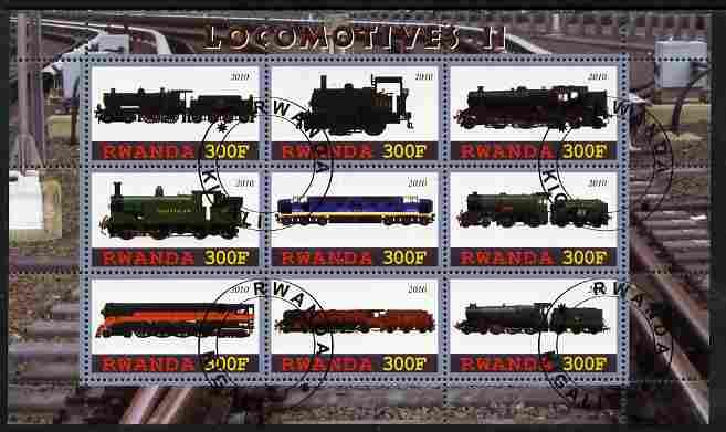 Rwanda 2010 Locomotives #2 perf sheetlet containing 9 values fine cto used
