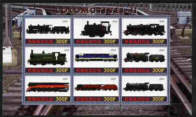 Rwanda 2010 Locomotives #2 perf sheetlet containing 9 values unmounted mint