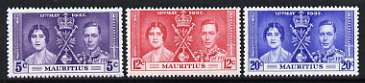 Mauritius 1937 KG6 Coronation perf set of 3 unmounted mint, SG 249-51