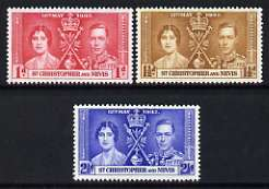 St Kitts-Nevis 1937 KG6 Coronation perf set of 3 unmounted mint, SG 65-67