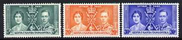 Kenya, Uganda & Tanganyika 1937 KG6 Coronation perf set of 3 unmounted mint, SG 128-30