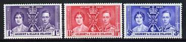 Gilbert & Ellice Islands 1937 KG6 Coronation perf set of 3 unmounted mint, SG 40-42
