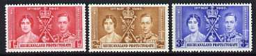 Bechuanaland 1937 KG6 Coronation perf set of 3 unmounted mint, SG 115-17