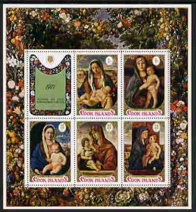Cook Islands 1977 Christmas - Children's Charity set of 5 m/sheets (Religious Paintings) unmounted mint, SG MS 582
