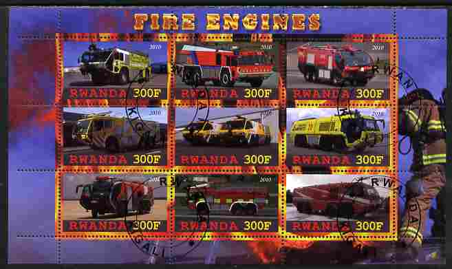 Rwanda 2010 Fire Engines perf sheetlet containing 9 values fine cto used