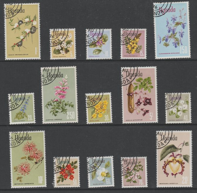 Uganda 1969 Flower Definitives complete cto set of 15, SG 131-45*
