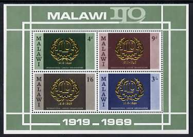 Malawi 1969 50th Anniversary of ILO perf m/sheet unmounted mint, SG MS 328