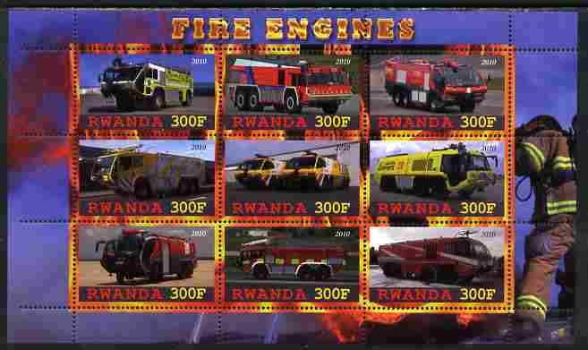Rwanda 2010 Fire Engines perf sheetlet containing 9 values unmounted mint
