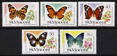 St Vincent 1978 Butterflies & Bougainvilleas perf set of 5 unmounted mint, SG 551-55*