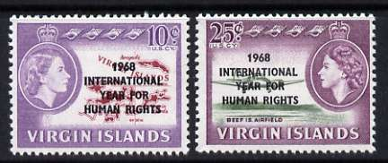 British Virgin Islands 1968 Human Rights Year perf set of 2 unmounted mint, SG 224-25*