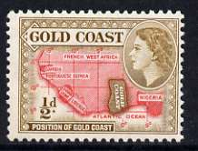 Gold Coast 1952-54 Map of West Africa 1/2d (yellow-brown) unmounted mint from def set, SG 153